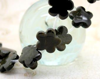 Obsidian Flat Flower Black Natural Gemstone Beads