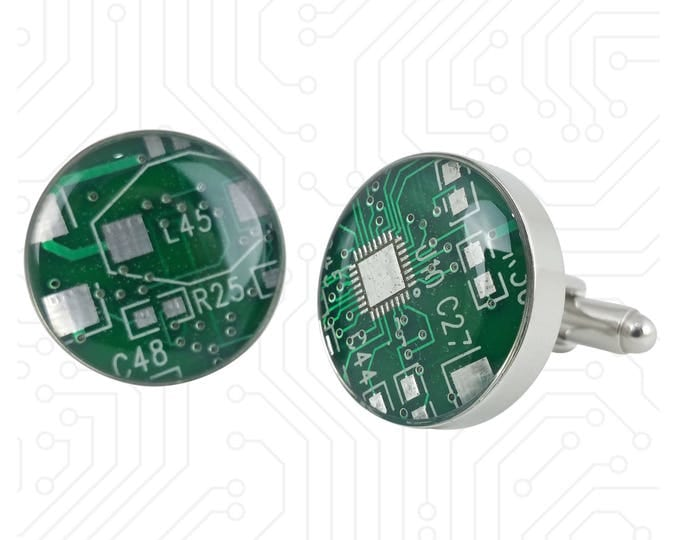 Green and Silver Circuit Board Cufflinks - Big and Bold Cufflinks Handmade w/ Recycled Technology - Silver Plated - Choose Round or Square