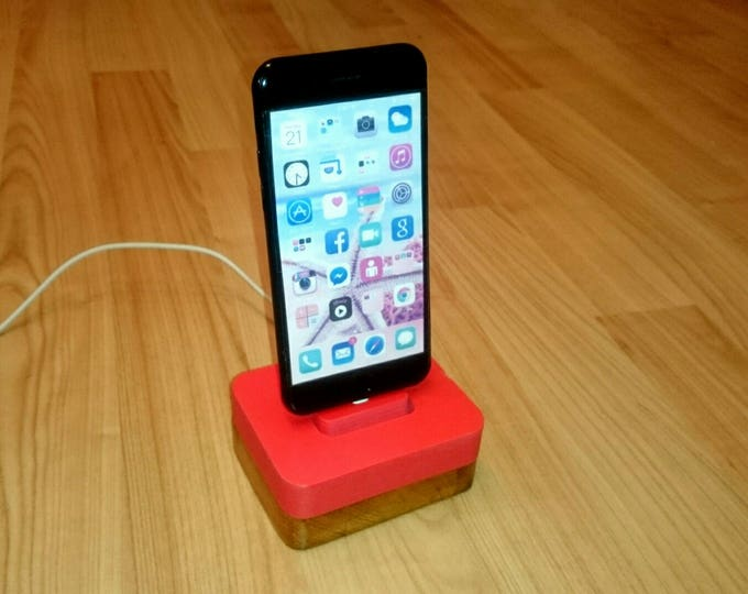 iphone docking station for Apple stand IDOQQ uno Red Wooden Station, iphone 5, 6, 7, 8