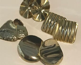 Vintage Gold Color Earrings - Pierced