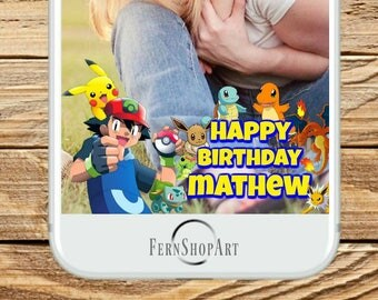 Pokemon Custom Snapchat Filter, Pokemon Party Geofilter, Pokemon Snapchat Filter, Pokemon Birthday, Birthday Geofilter, Snapchat