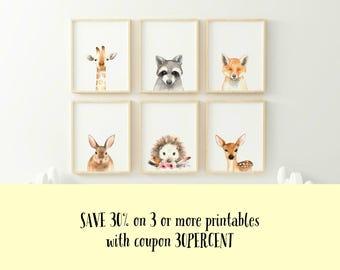 Fox Animal nursery decor, Nursery wall art, PRINTABLE art, animal prints, Nursery safari prints, Giraffe print, Rabbit print, Deer print
