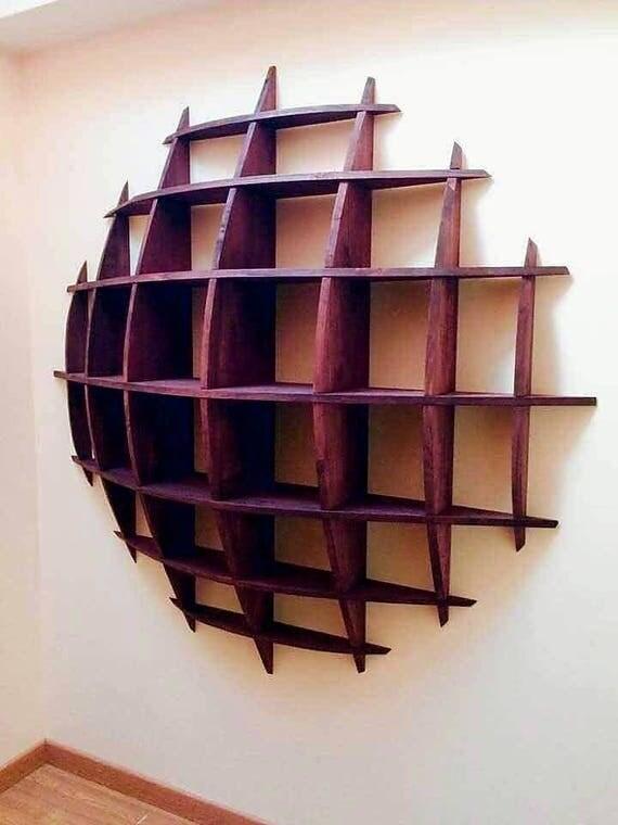biblioth que murale acajou demi sph re en bois massif faite. Black Bedroom Furniture Sets. Home Design Ideas