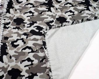 Black and Gray Camo Fleece Blanket