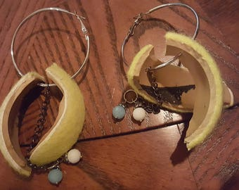 Tennis Ball Hoop Earrings