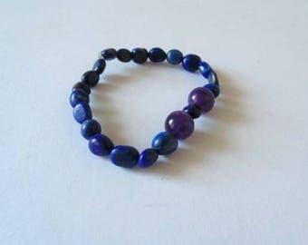 Lapiz Lazuli bracelet, amethyst bracelet, gift for her, beaded bracelet, blue bracelet, purple bracelet, lapis lazuli jewelry