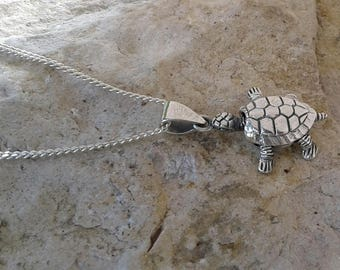 Turtle Necklace, Turtle Pendant, Solid Sterling Silver Turtle Pendant Necklace with Movable Head and Legs