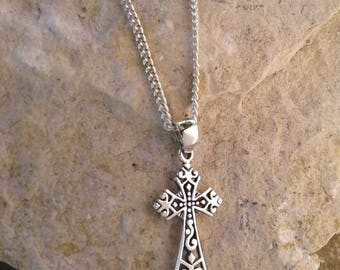 Filigree cross etsy cross necklace solid sterling silver victorian filigree cross pendant necklace aloadofball Image collections