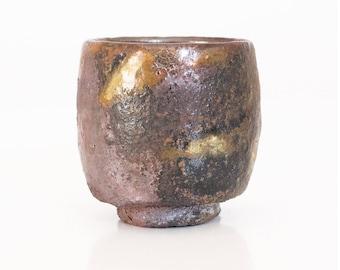 Woodfired ceramic yunomi, handmade pottery, shino glaze, tea cup,
