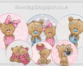 Cute teddy bear,  baby boy & baby girl Digital collage sheet - high resolutions circles image - set of 6, image paper goods printable