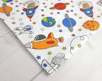 Space fabric, rocket earth ufo comet stars navy blue Cotton natural cotton fabric By the Yard