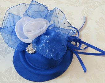 Royal Blue Satin Fascinator