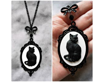 necklace black cat 3d cameo bow kitty gothic victorian witch the black cat edgar allan poe bast bastet witchcraft witchy dark cat lover
