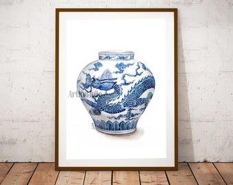 Dragon vase print, print of hand painted watercolor painting