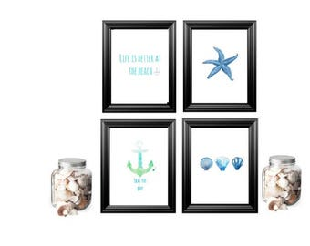 Life's a beach prints pack of four A6