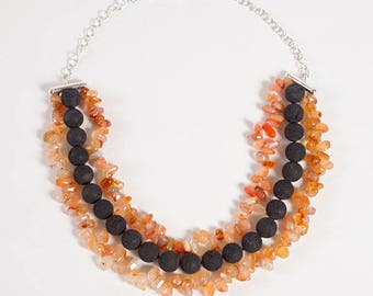Bib Necklace in sterling silver, lava stone and Carnelian