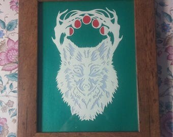 SALE Wolf Papercut Handcut and handmade