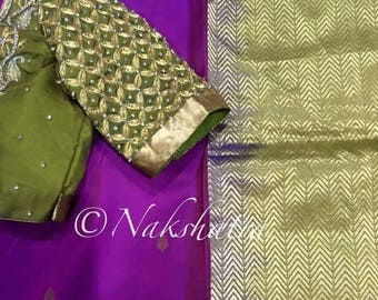 Purple kanchi saree with heavy handwork blouse