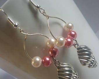 Pink pearl seashell earrings