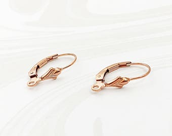 Rose Gold Ear Wires, Leverback Earwires, Leverback Findings, EWRS014, 16.7mm