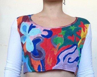 Hand-painted Upcycled Moons and Flowers Long Sleeve Top