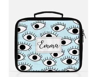 Eyes Lunch Box, Personalized Lunch Bag, Blue Lunch Box, Eyes Print, Cute Lunch Box, Custom Name Lunch Box, Blue Lunch Bag,