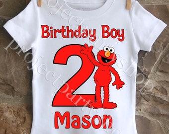 Elmo Birthday Shirt, Boys Sesame Street Shirt, Boys Elmo Birthday Shirt