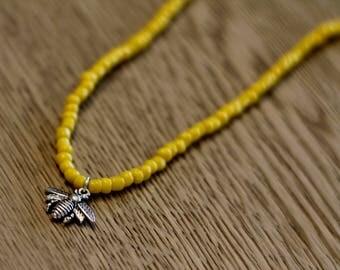 Bumblebee yellow beaded necklace