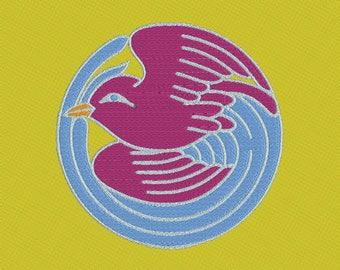 Embroidery japanese crest kamon bird