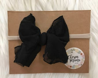 Black nylon headband mini messy bow, ruffle bow, baby headband, newborn headband, newborn bow, skinny bow, skinny headband, nylon headband