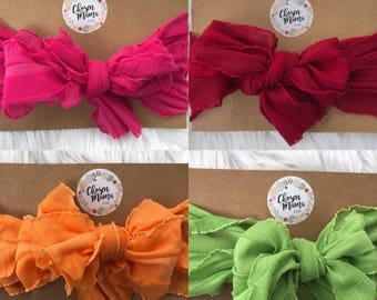 messy bow headbands, messy bow, baby headband, newborn headband, nylon headband, messy bow headband, baby bow, ruffle bow, messy bow