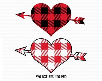 Valentines Heart with arrow svg, Plaid heart svg, Heart svg, Plaid Valentine's Day svg, CriCut Files frame svg jpg png dxf Silhouette cameo