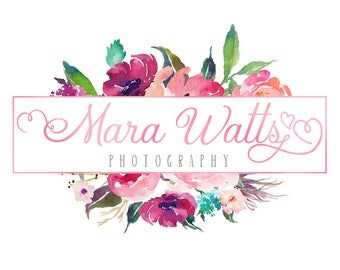 Floral watercolor logo design, photography logo design, pink foil logo, floral logo design, premade branding template, instant download