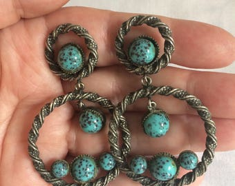 Turquoise Vintage Clip on Earrings