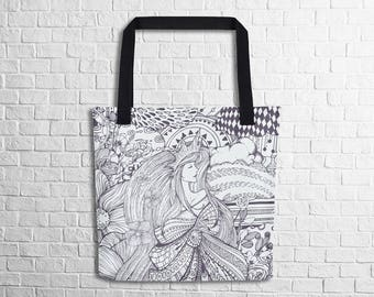 Magical Queen Doodle Tote Bag Doodle Art Tote Bag Unique Art Design Tote Bag School Work Shopping Tote Witty Novelty