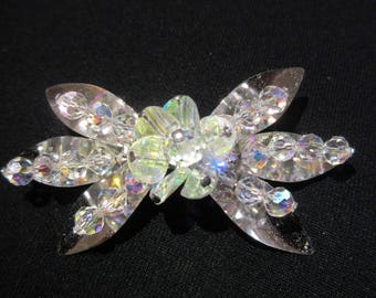 Vintage Aurora Borealis Crystal Floral Brooch Shimmering Rainbow Colours