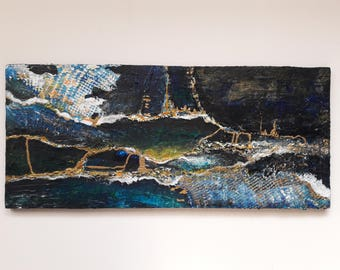Acrylic painting, Modern art, abstract art, landscape painting, Seascape, Gold and blue, abstract painting, modern art, landscape