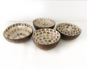 Decorative Mother of Pearl Mosaic Coconut Bowl - Set of 4