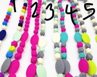 Silicon baby teething necklace