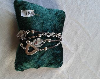 Bracelet 4 rows Brown wax cords