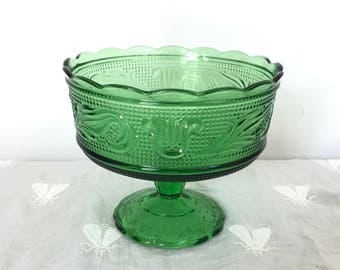 Green Glass Bowl | E.O. Brody Emerald Candy Dish Fruit Bowl | Footed Compote Bowl | Colored Glass Decor