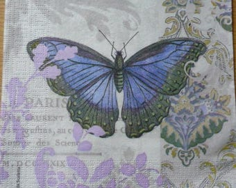 Blue butterfly paper napkin
