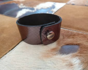 Personalized Leather Bracelet with snap