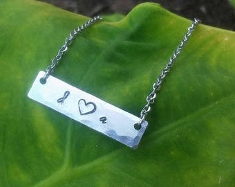 Lovers' Initials Bar Necklace
