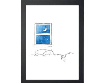 Cat Sleeping on Person 8.5x11 Art Print, Wall Decor, Wall art, Funny Cat Art, Drawing Prints