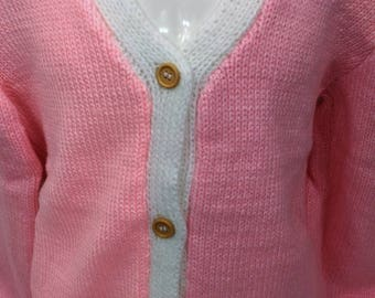 Vest-wool-child-made hand-knit - pink & white - 007