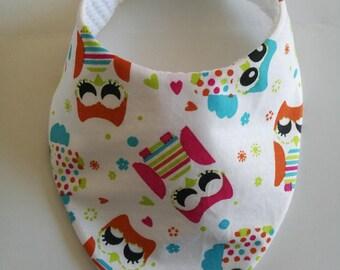 OWL Handmade fabric bandana bib