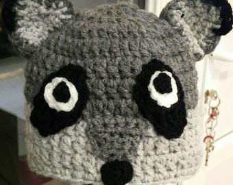 Handmade woolen raccoon Hat