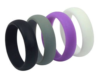 4-Pack! High Quality Silicone Wedding Ring Women's Band