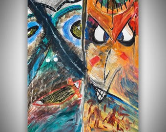 Two faces, acrylic, abstract, colorful